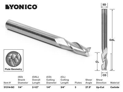 "1/4"" Dia. Upcut Spiral End Mill CNC Router Bit - 1/4"" Shank - Yonico 31314-SC"