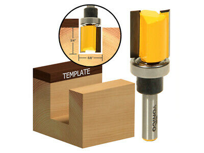 "5/8"" Diameter Flush Trim Template Router Bit - 1/4"" Shank - Yonico 14124q"