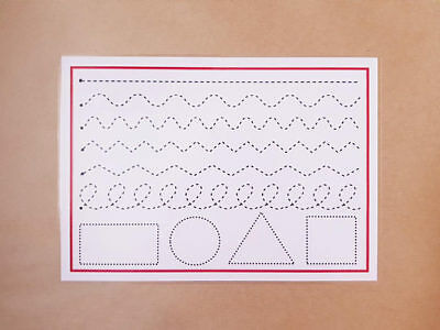 First Writing-pen control/drawing shapes - Wipe Clean A4 mat -TODDLERS/SEN/EYFS