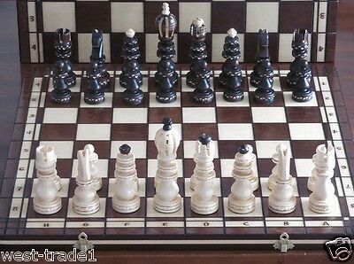 Brand New ♛  Hand Carved Roman Wooden Chess Set 53cm x 53cm♜