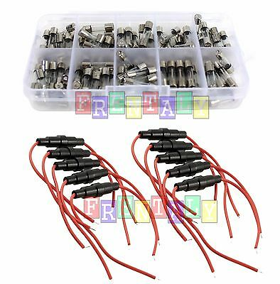 Car Boat Fuse Holder & 100X 5x20mm Quick Blow Glass Tube Assorted Kit Assortment
