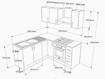 White L-shape Kitchen Doors Drawers Soft-closing Bench-tops Handles Assembled