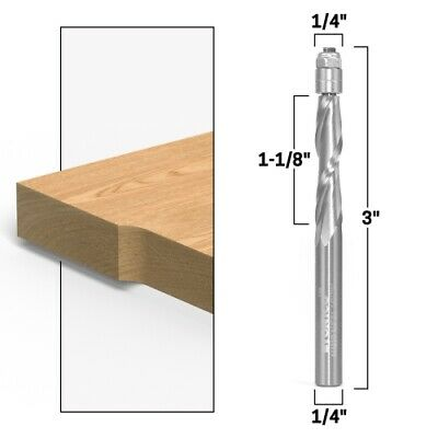 "1"" X 1/4"" Flush Trim Solid Carbide Spiral Router Bit - 1/4"" Shank - Yonico 14121"