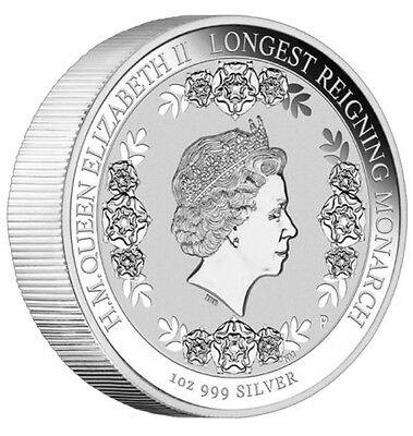 The Longest Reigning Monarch Queen Elizabeth II 2015 1oz Silver Intaglio Coin