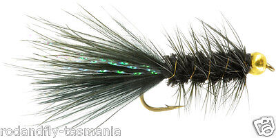 12 TROUT FLIES- BEAD HEAD BLACK WOOLLY BUGGERS Size 10 ,12