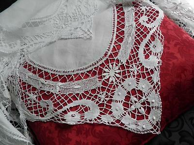 Antique Linen Tablecloth With Wide Cluny Lace Hand Made