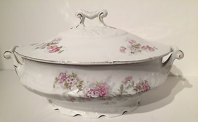 2pc Vintage Victoria Carlsbad Austria China Soup Tureen Pink Flowers Scalloped