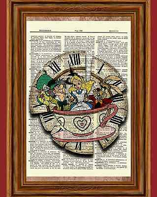 Alice in Wonderland Dictionary Art Print Picture Poster Mad Hatter March Hare