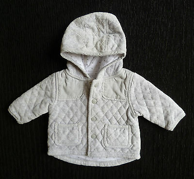 Baby clothes UNISEX BOY GIRL 0-3m NEXT soft quilt grey cotton-lined jacket/coat