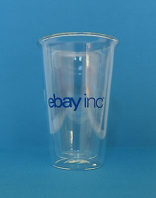 Double-Walled EBAY INC™ Clear Drinking GLASS Hot or Cold COFFEE TEA Logo