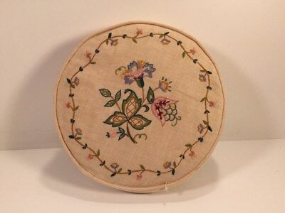 Vintage Needle Point Cushion / Pillow - Floral Pattern