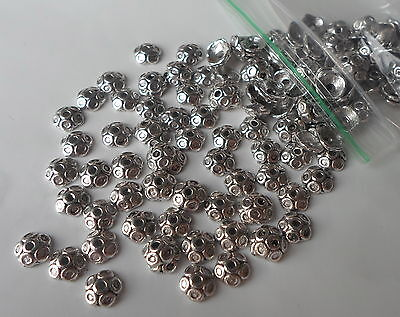 25/50/100 x Tibetan Antique Silver Flower Caps Ends Cone Beads - 7mm C8