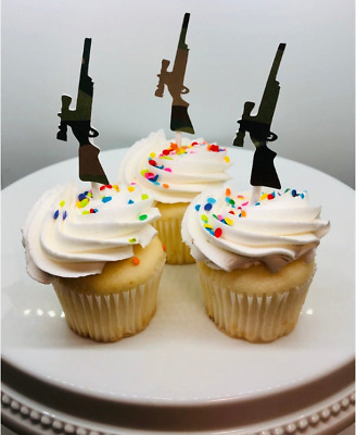 Hand Crafted 12 Rifle Camouflage / Camo / Hunting Cupcake Toppers (247C)