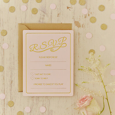 Pastel Perfection - Rsvp Cards - Pink And Gold