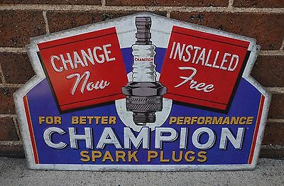 New Champion Spark Plugs Embossed Metal Vintage Style Tin Sign Garage Man Cave