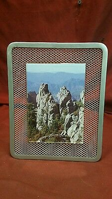 Steel Wire mesh screen Photo Frame holds 5x3.5 photo Painted Grey Powder coated.
