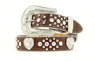 "NOCONA - Girl's Belt 1.25"" - Rhinestone Heart Concho - Brown - (N4425202) - New"