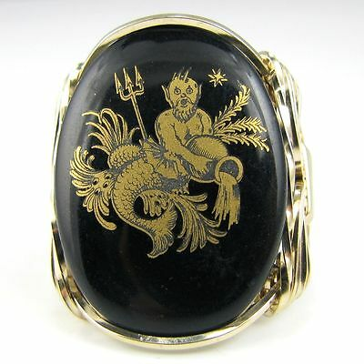 Aquarius Zodiac Sign Black Glass Cameo Ring 14K Rolled Gold Jewelry Any Size