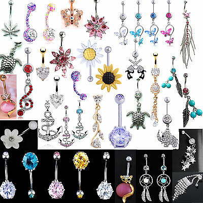 GOOD Belly Bars Crystal Reverse Drop Body Piercing Belly Button Ring Navel Bar
