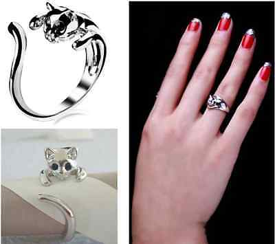 Fashion Jewelry Womens Cute Silver Plated Kitten Cat Ring With Crystal Eyes Gift
