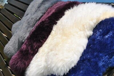 Natural Genuine Sheepskin Rug Fleece SOFA PAD soft shearling Fur Real Shaggy