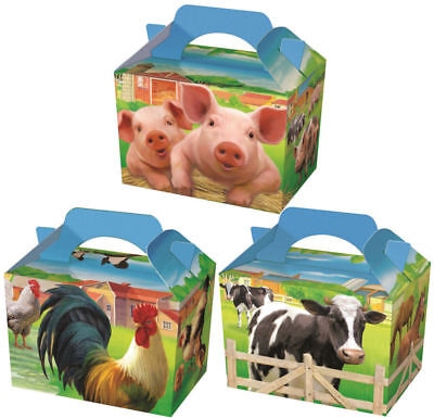 10 Farm Animal Party Boxes - Food Loot Lunch Cardboard Gift Kids
