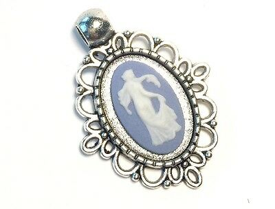 Wedgwood Jewelry: Authentic, Jasperware Cameo Antique Silver Pendant