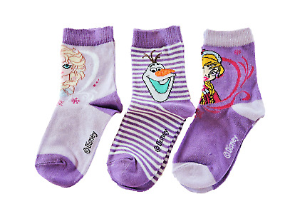 Girls Disney Frozen 3 pack socks (purple) size Uk 6-12 Euro 23-34