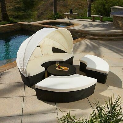 Outdoor Patio Furniture 4pcs All Weather Wicker Sectional Daybed Sofa Set