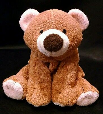 """2002 Ty Slumbers Bear Pluffies 11"""" Brown Retired Baby Teddy Super Soft Plush"""