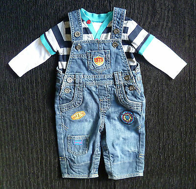 Baby clothes BOY 0-3m denim dungarees badges/long sleeve stripe top COMBINE POST