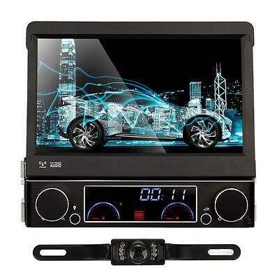 UK Touch Screen Single 1Din Car Stereo Sat Nav DVD Player GPS Bluetooth + Camera