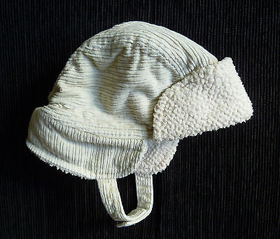 Baby clothes BOY 3-6m cream fleece-lined Jasper Conran hat velcro chin fixing