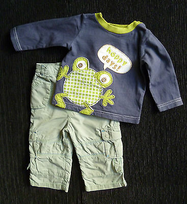 Baby clothes BOY 3-6m frog blue/green long sleeve top/iined trousers SEE SHOP!