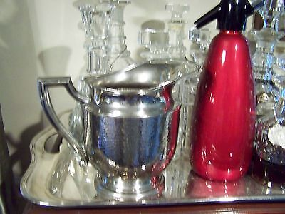 Arts And Crafts Style Pounded Silver Depression Era Water Pitcher Vase - Vintage