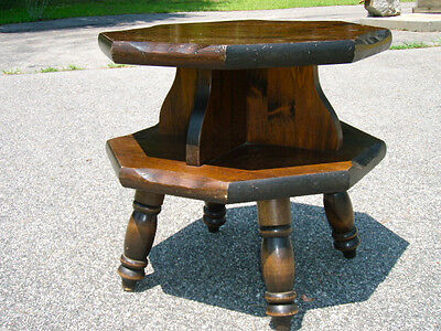 """THICK/SOLID PINE-SIDE TABLE/4 LEGS/24"""" L x 24 W x 23 T/2-TIER TOP/XTRA STORAGE"""