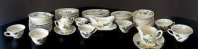 Vintage Weil Ware California Pottery Bamboo 60 Piece Dining Set Dishes
