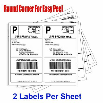 Round Corner 200-10000 Half Sheet Shipping Labels Self Adhesive For USPS Paypal