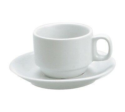 Vitroceram Stackable Cup 225ml and Saucer  White  (x 6)