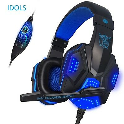 Blue Bass Surround Stereo Gaming Headset Headphone USB 3.5mm LED with Mic for PC