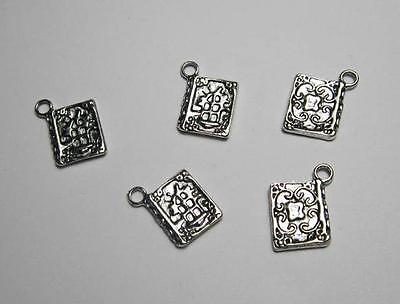 5 ornate magic spell book secret diary charms tibetan silver jewellery cards