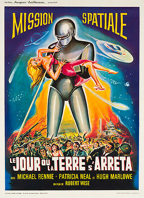 Original French The Day the Earth Stood Still, Film/Movie Poster, Linen Backed