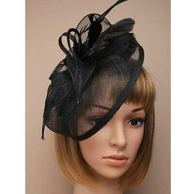 Black fascinator in hessian with feather tendrils. Large hatinator set on ali...