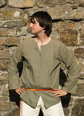 Medieval-Re enactment-Cosplay Linen Cotton mix SAGE GREEN MEDIEVAL SHIRT Sml-4XL