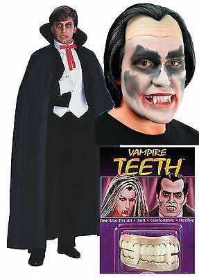 Dracula Vampire Mens Halloween Fancy Dress Costume Outfit Cape + Wig + Teeth