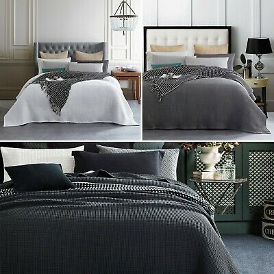 New Premium 100% Cotton 350gsm Waffle Blanket Bedspread Bed Throw Rug S D Q K SK