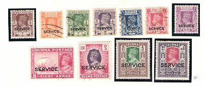 1946 Burma British Military Administration 11 val SG n° O28/O40 MLH*+ USED