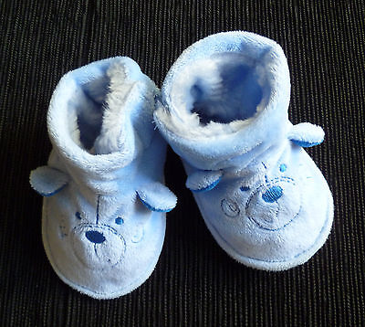 Baby clothes BOY 9-12m TU fleece-lined dog face ears blue slippers/bootees