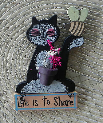 "Cute Wooden Kitty Cat Fridge Magnet ""Life is To Share"" Sign"