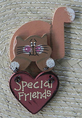 "Cute Wooden Kitty Cat Fridge Magnet ""Special Friends"" Sign"
